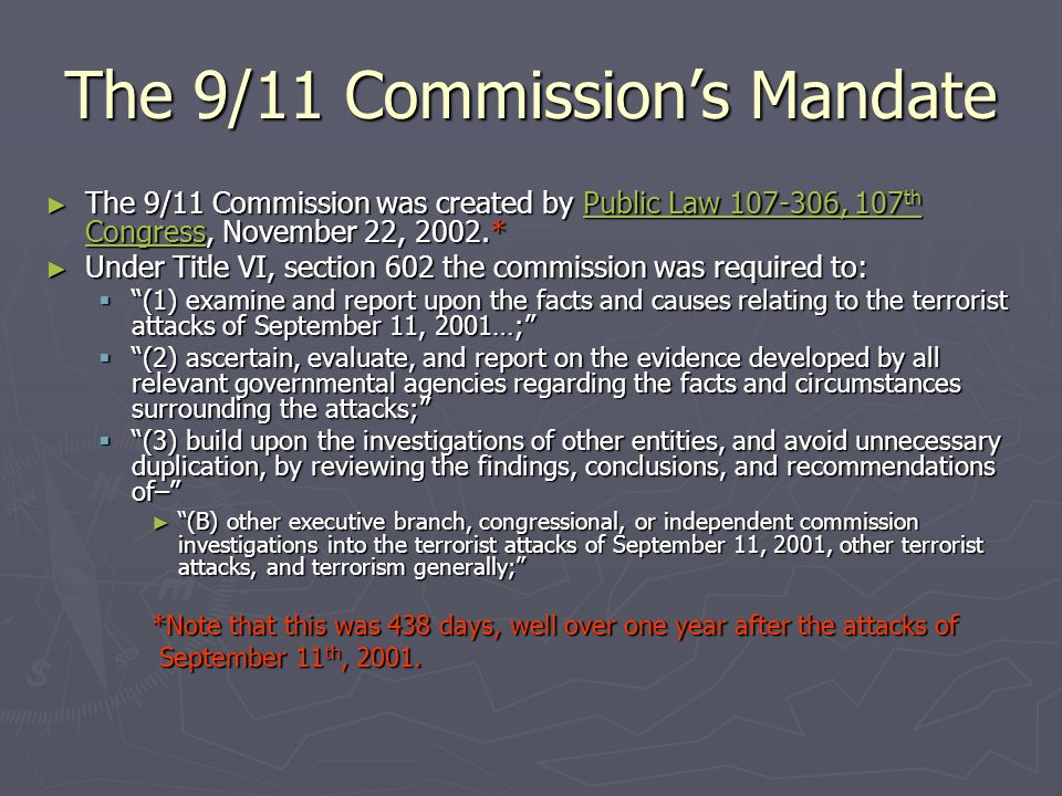 The 9/11 Commission's Mandate