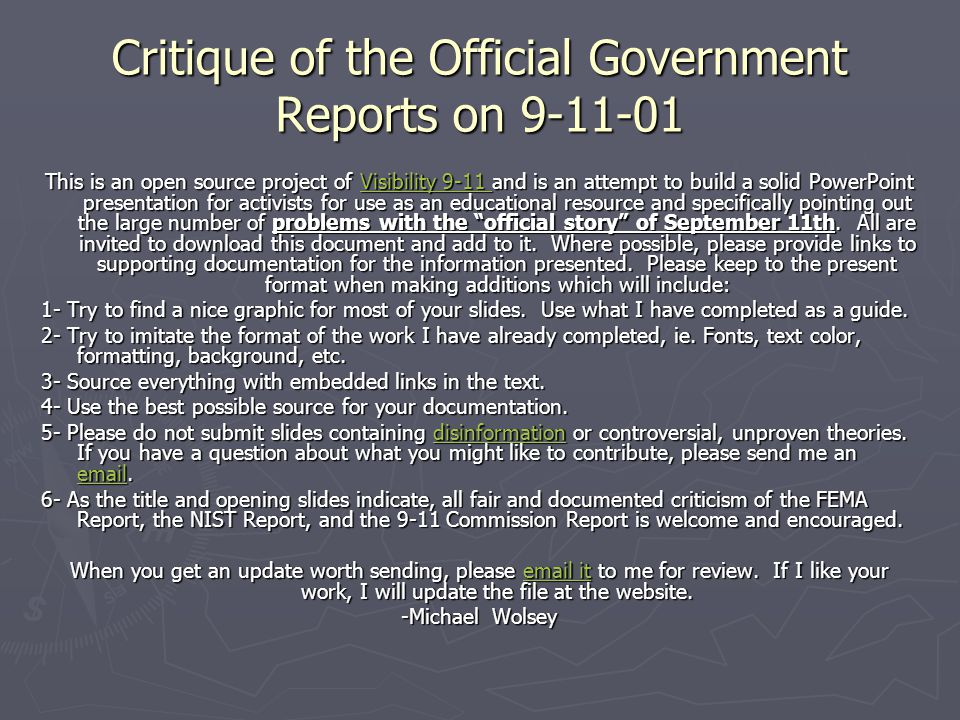 Critique of the Official Government Reports on 9-11-01