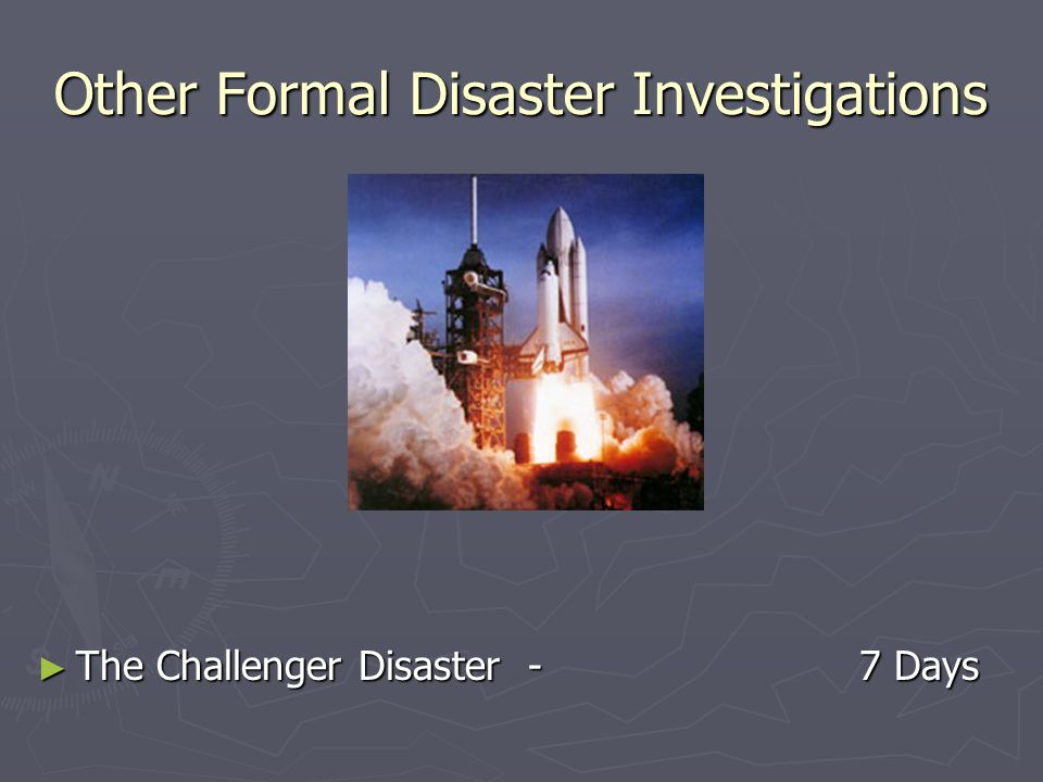 an investigation of the tragic explosion of the challenger The shuttle investigation may conclude that nasa did nothing wrong  cited the phenomenon after the loss of challenger and its crew in 1986.