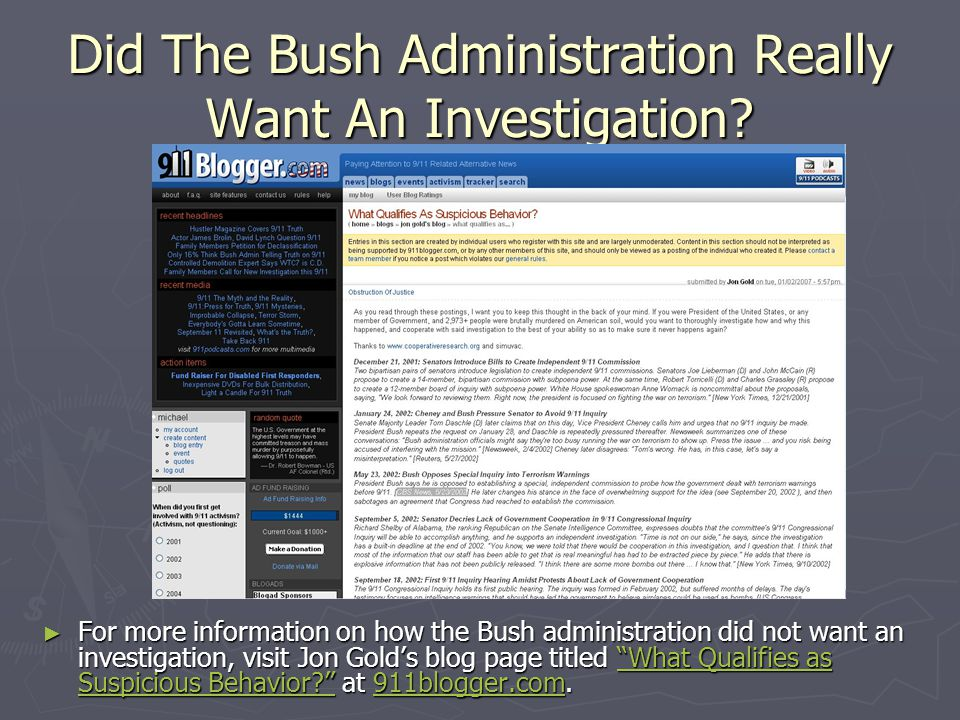 Did The Bush Administration Really Want An Investigation