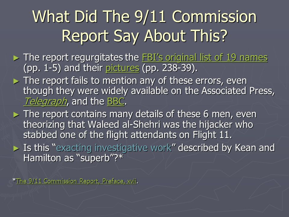 What Did The 9/11 Commission Report Say About This
