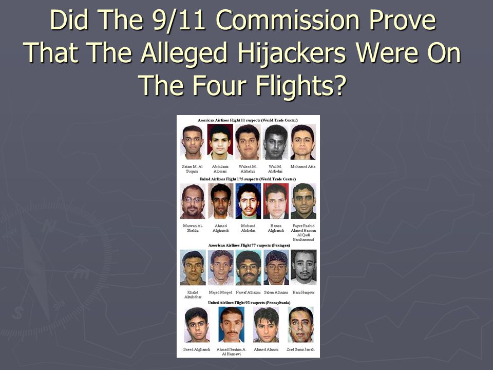 Did The 9/11 Commission Prove That The Alleged Hijackers Were On The Four Flights