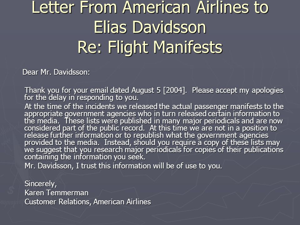 Letter From American Airlines to Elias Davidsson Re: Flight Manifests