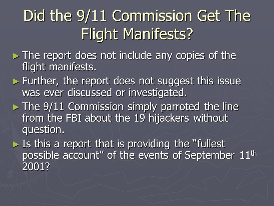 Did the 9/11 Commission Get The Flight Manifests