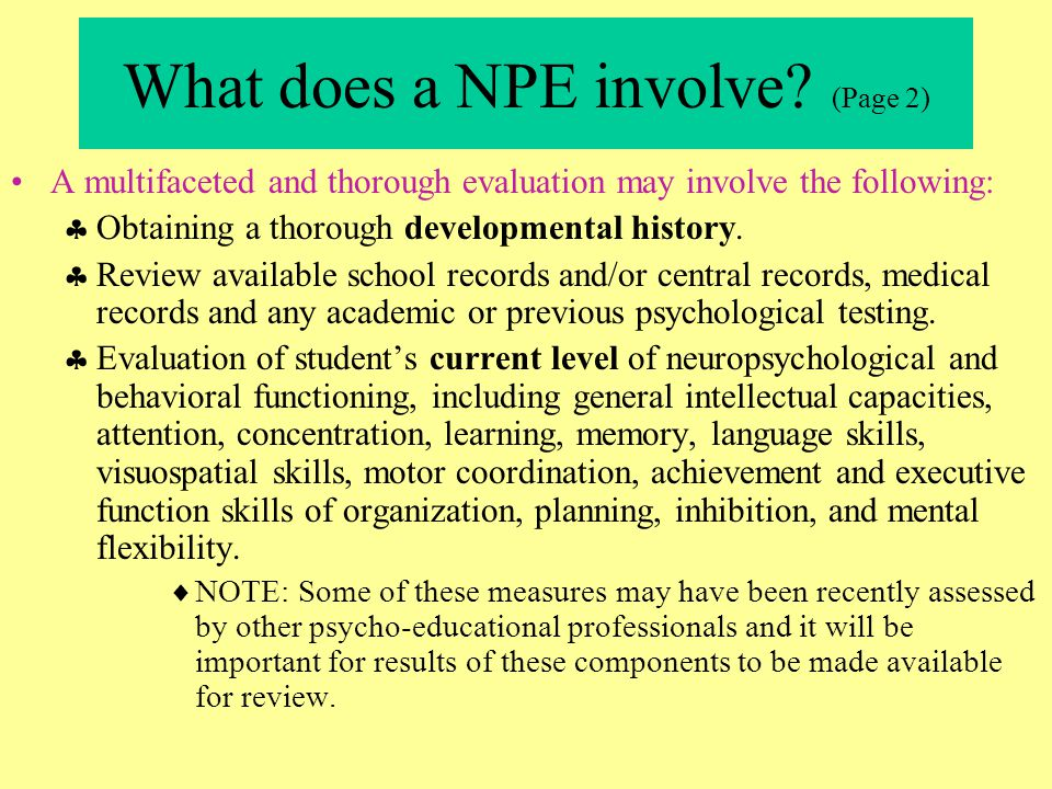 What does a NPE involve (Page 2)