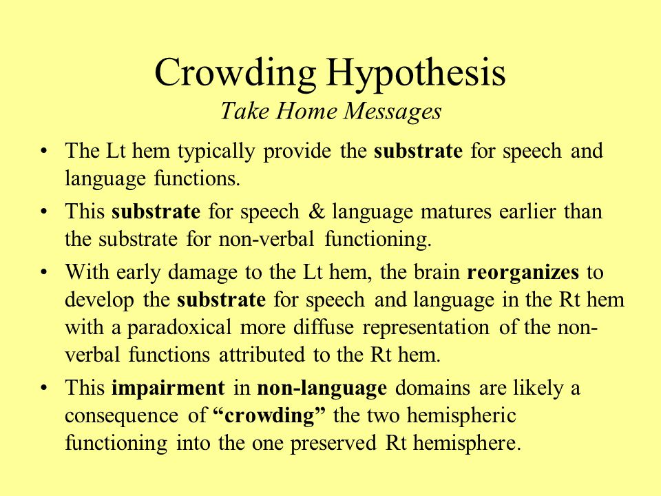 Crowding Hypothesis Take Home Messages