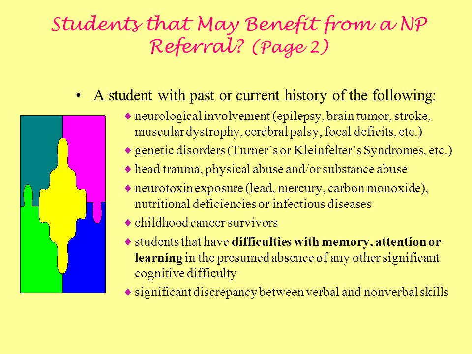 Students that May Benefit from a NP Referral (Page 2)