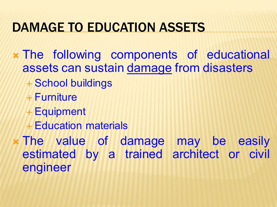Damage to Education Assets