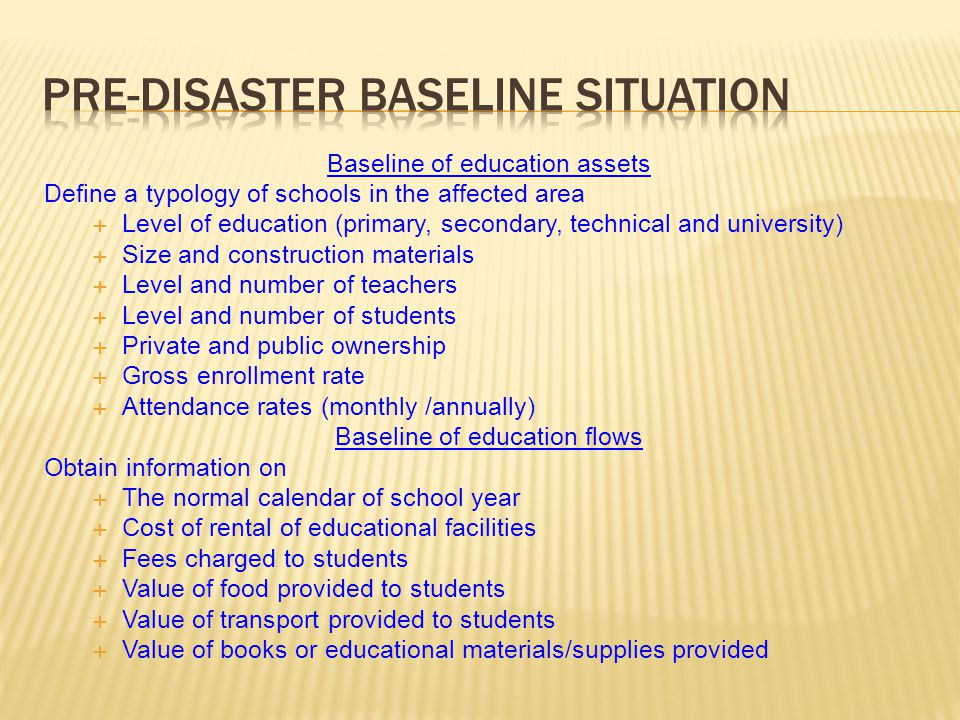 Pre-Disaster Baseline Situation