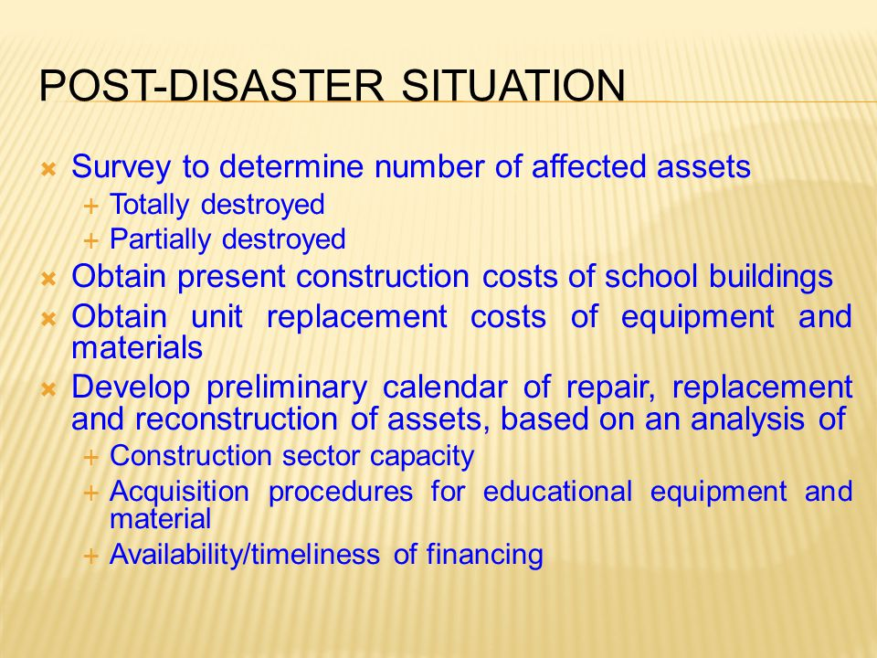 Post-Disaster Situation
