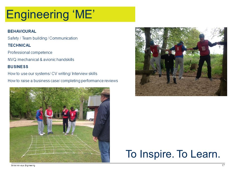 Engineering 'ME' To Inspire. To Learn. BEHAVIOURAL