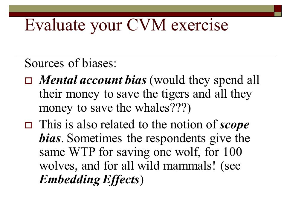 Evaluate your CVM exercise