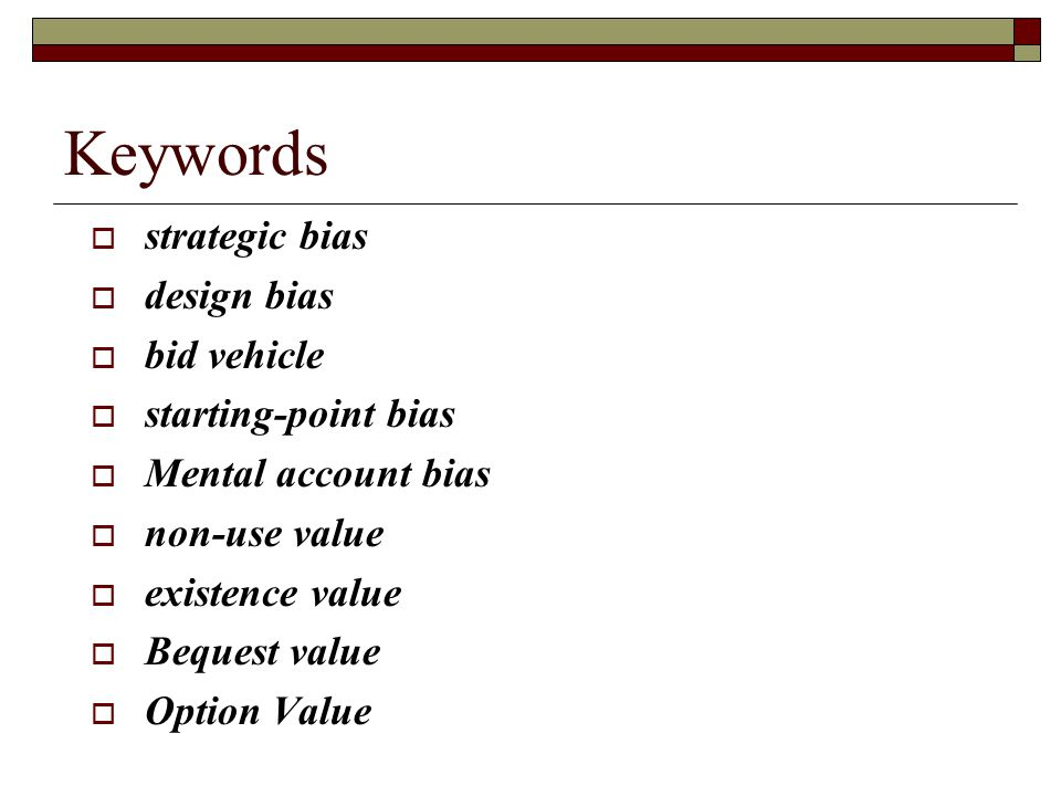 Keywords strategic bias design bias bid vehicle starting-point bias