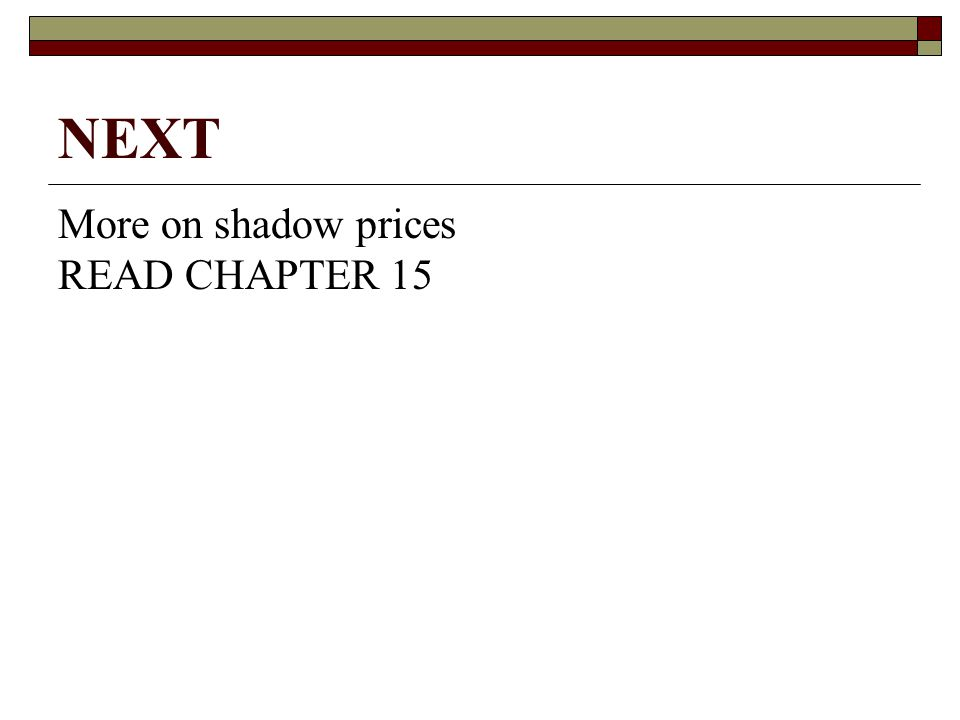 NEXT More on shadow prices READ CHAPTER 15