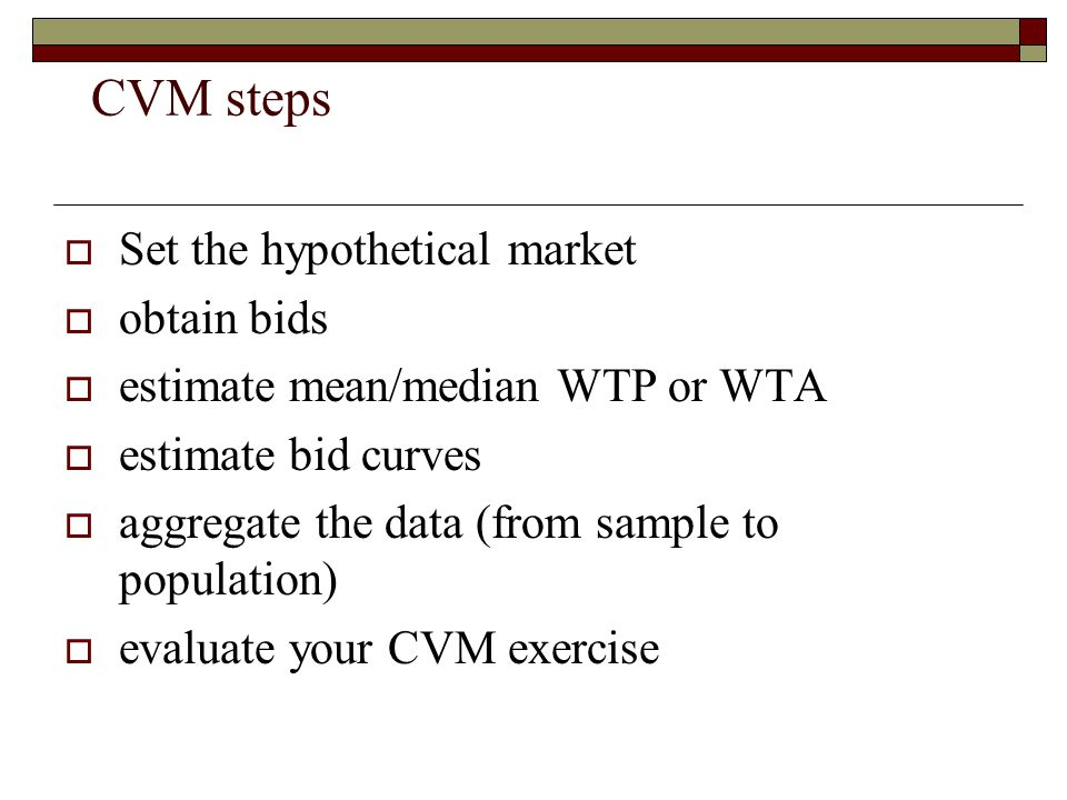 CVM steps Set the hypothetical market obtain bids