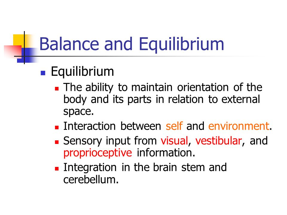 Balance and Equilibrium