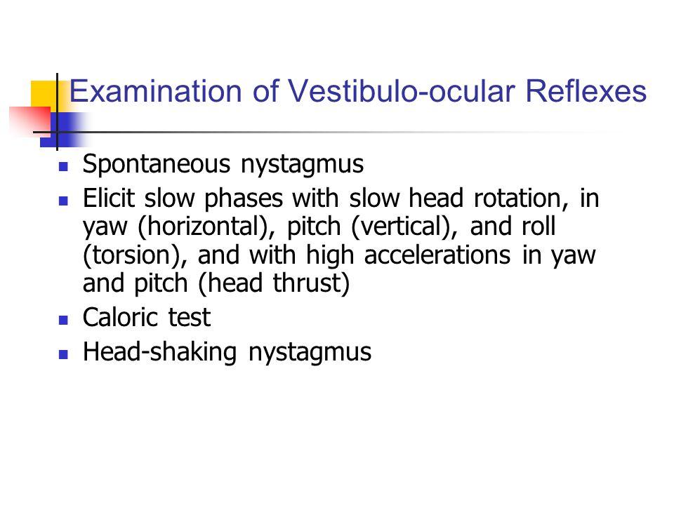 Examination of Vestibulo-ocular Reflexes