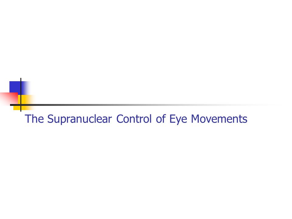 The Supranuclear Control of Eye Movements