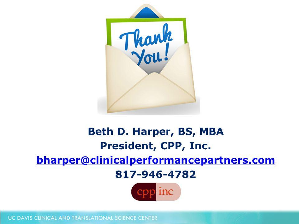 Beth D. Harper, BS, MBA President, CPP, Inc