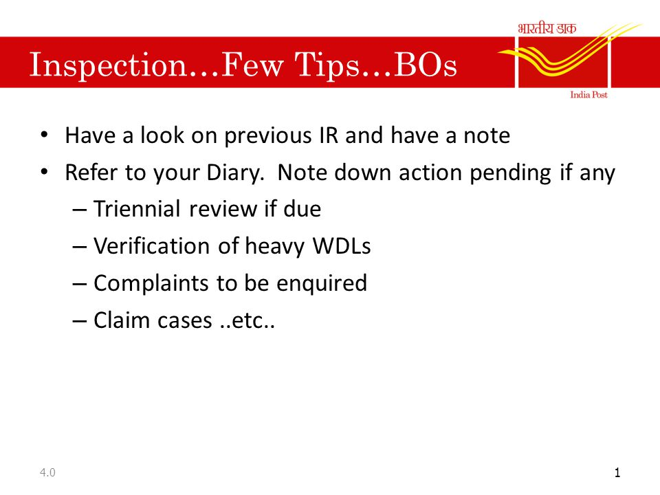 Inspection…Few Tips…BOs