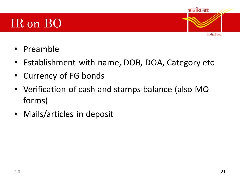 IR on BO Preamble Establishment with name, DOB, DOA, Category etc