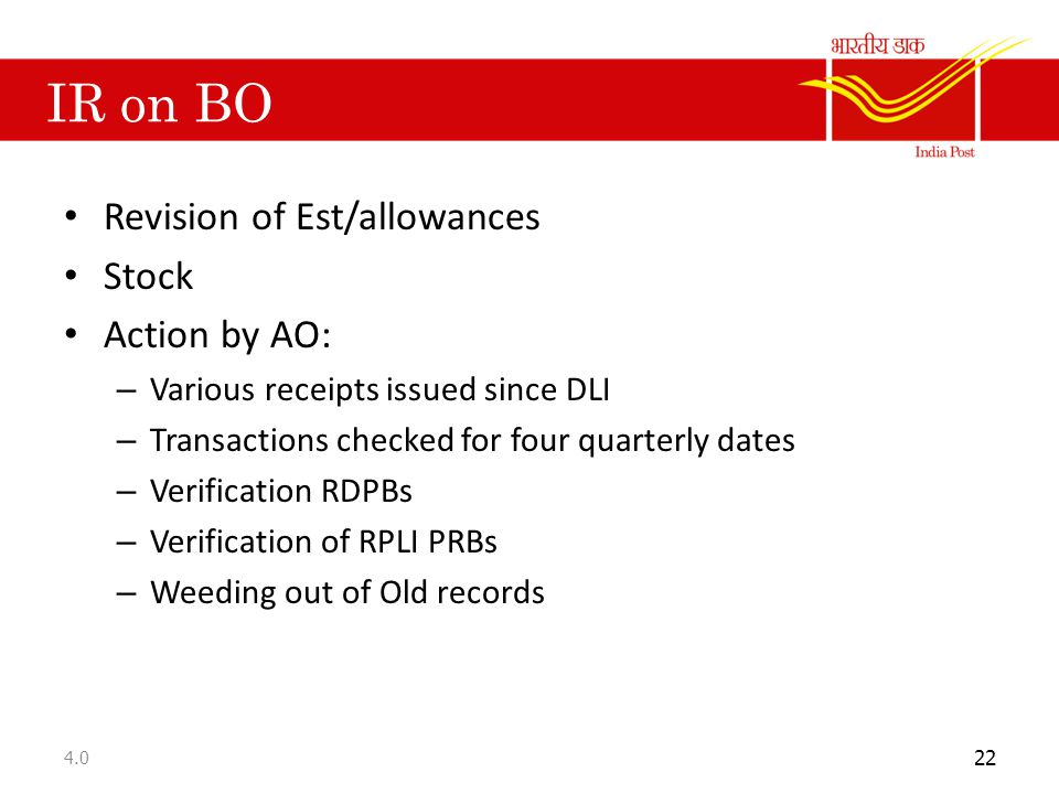 IR on BO Revision of Est/allowances Stock Action by AO: