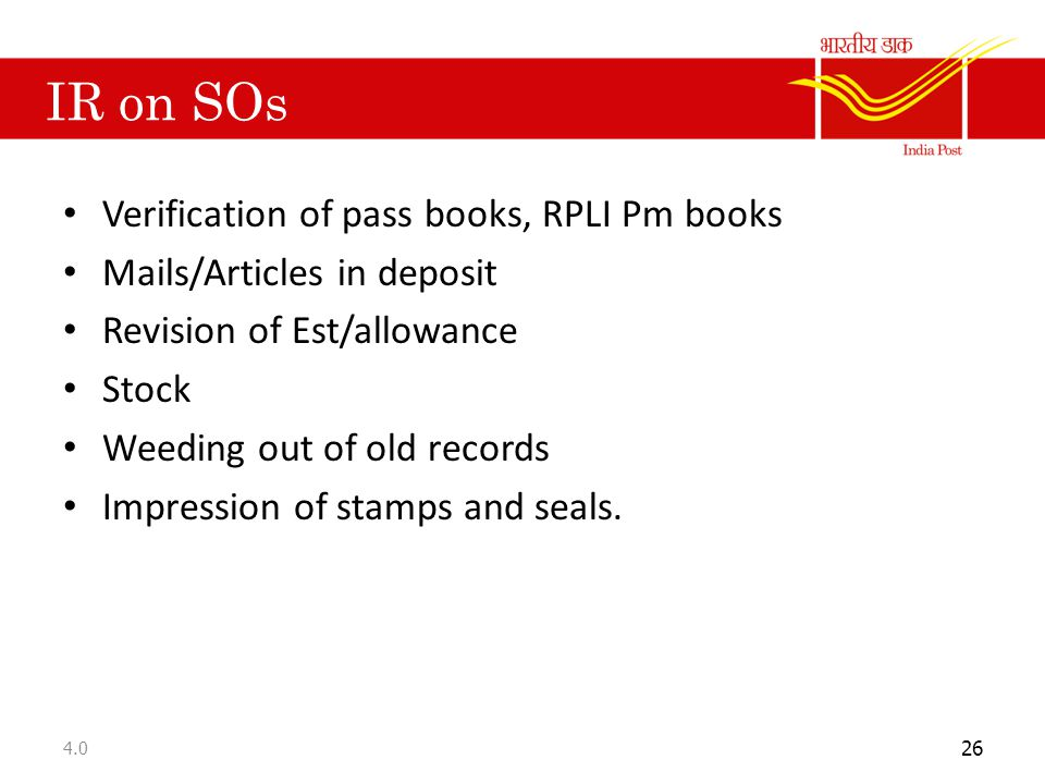 IR on SOs Verification of pass books, RPLI Pm books