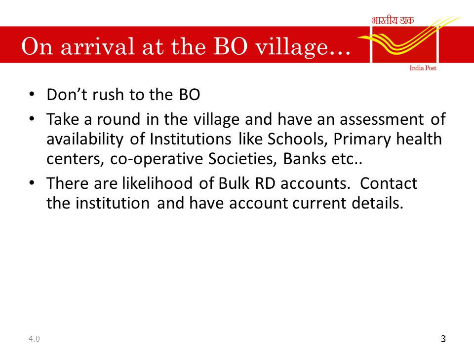On arrival at the BO village…
