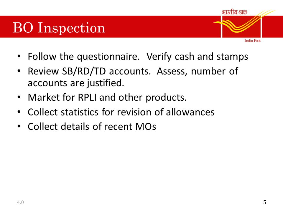 BO Inspection Follow the questionnaire. Verify cash and stamps