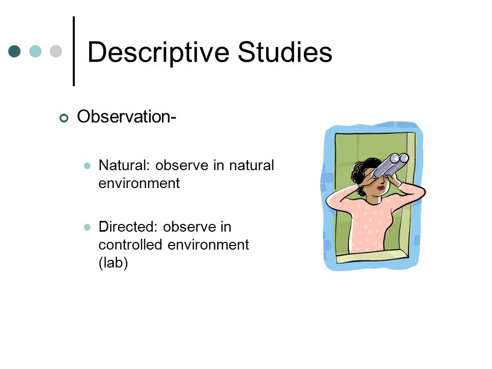 Descriptive Studies Observation-
