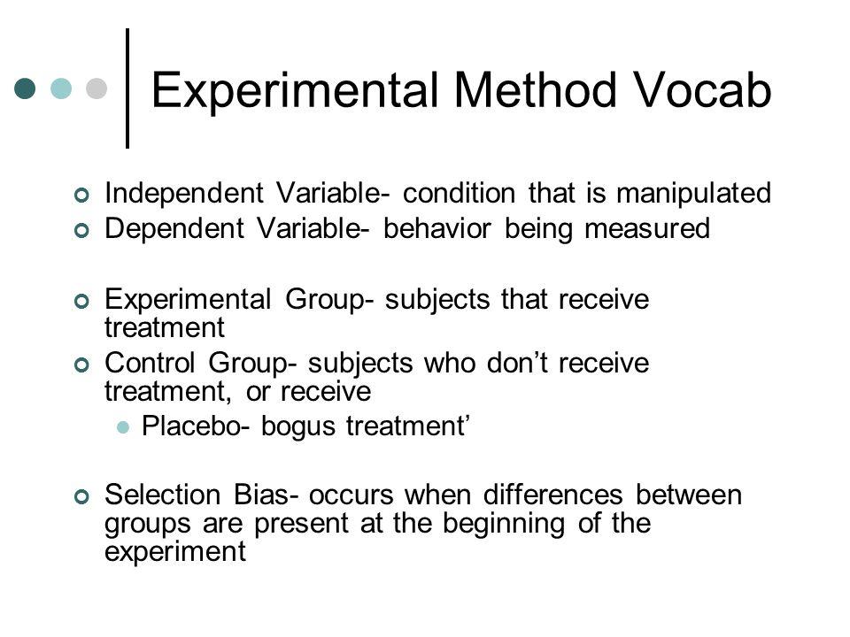 Experimental Method Vocab