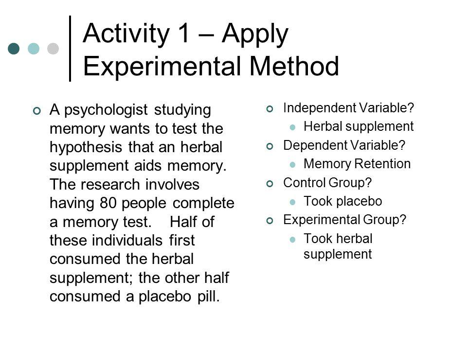 Activity 1 – Apply Experimental Method
