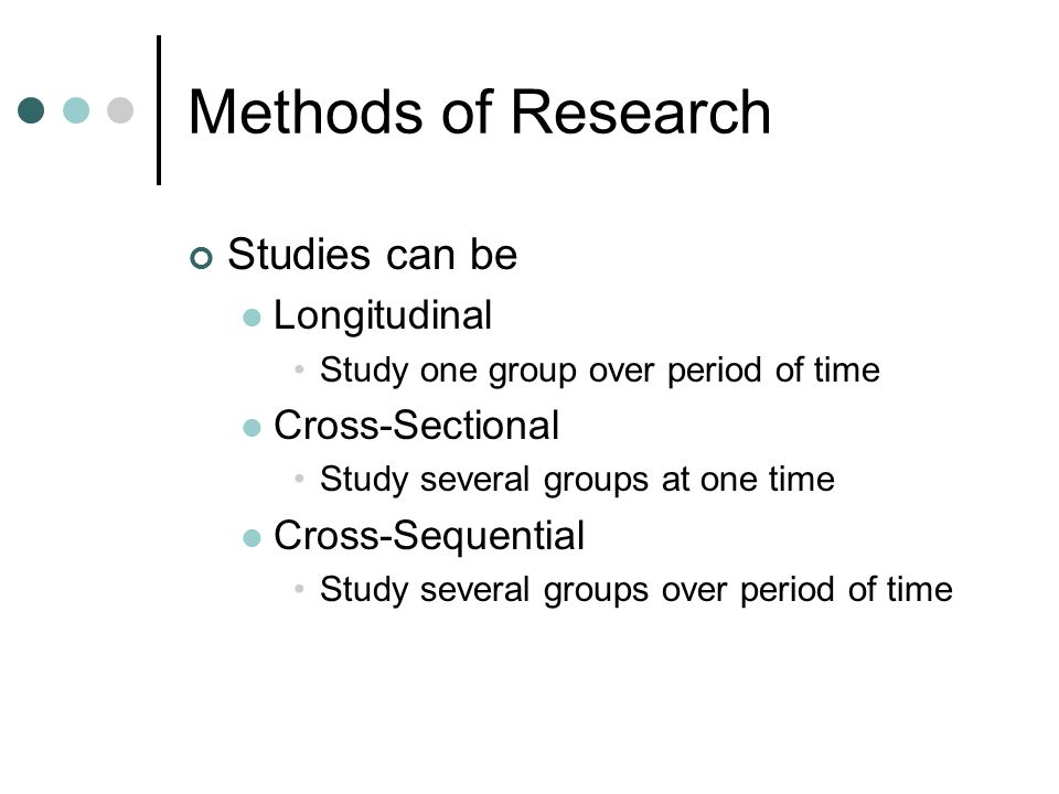 Methods of Research Studies can be Longitudinal Cross-Sectional