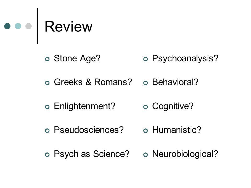 Review Stone Age Greeks & Romans Enlightenment Pseudosciences