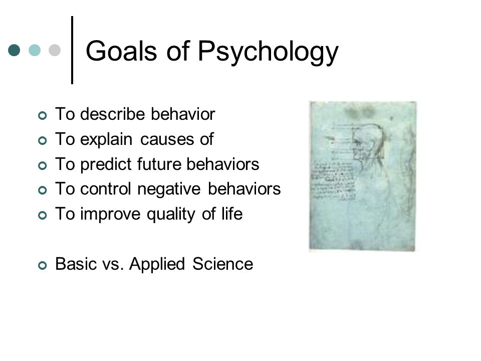 Goals of Psychology To describe behavior To explain causes of