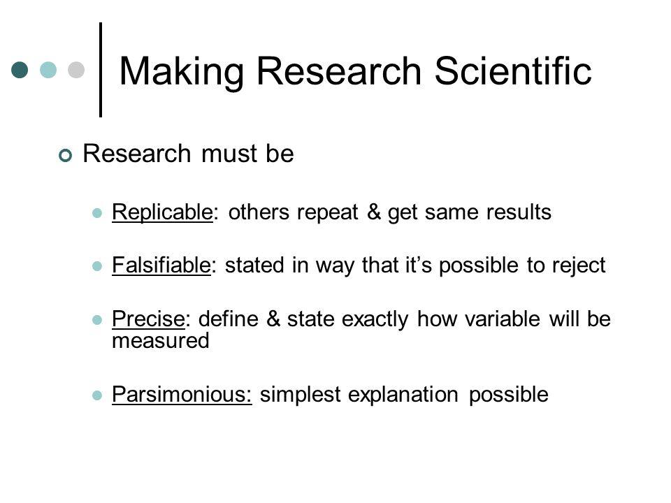 Making Research Scientific
