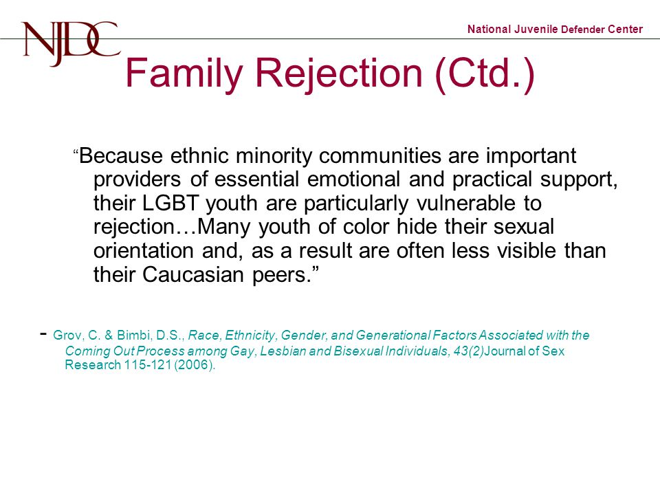 Family Rejection (Ctd.)