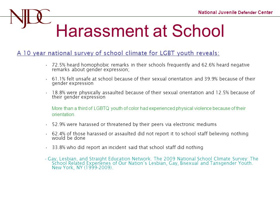 Harassment at School A 10 year national survey of school climate for LGBT youth reveals: