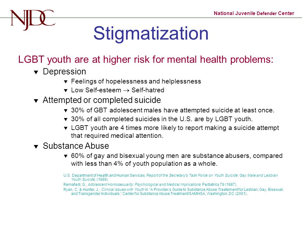 Stigmatization LGBT youth are at higher risk for mental health problems: Depression. Feelings of hopelessness and helplessness.