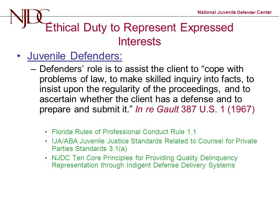 Ethical Duty to Represent Expressed Interests