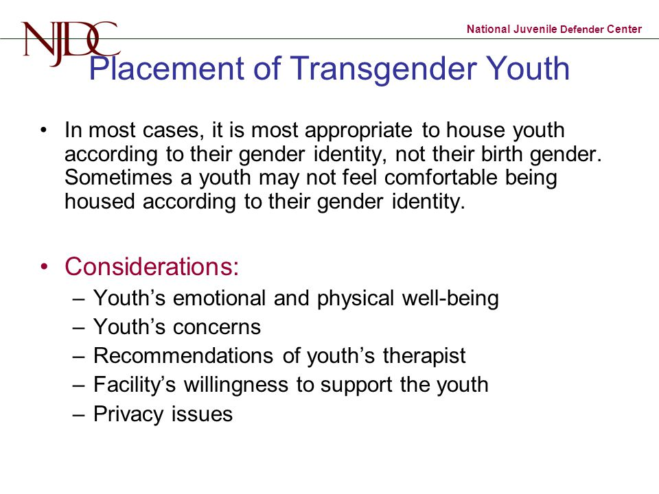 Placement of Transgender Youth