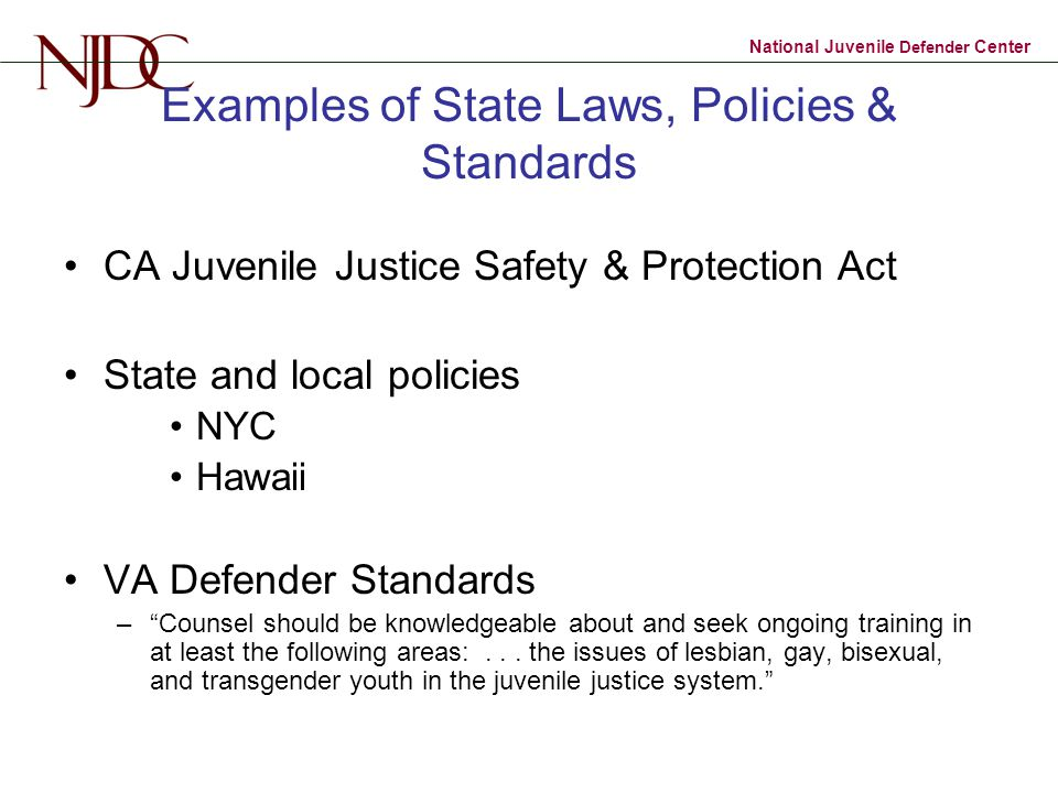 Examples of State Laws, Policies & Standards