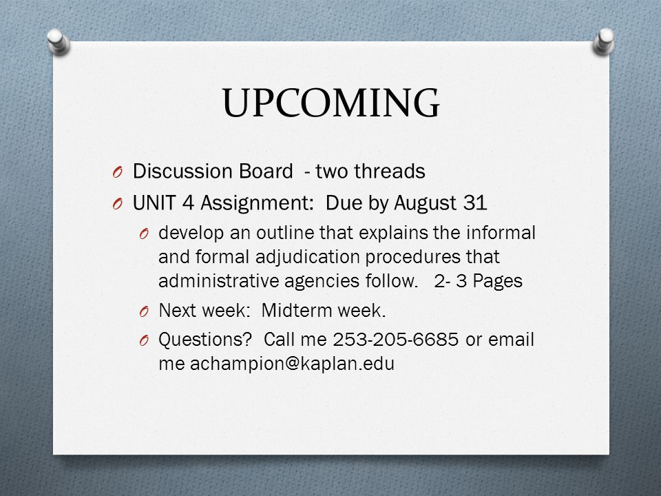 UPCOMING Discussion Board - two threads