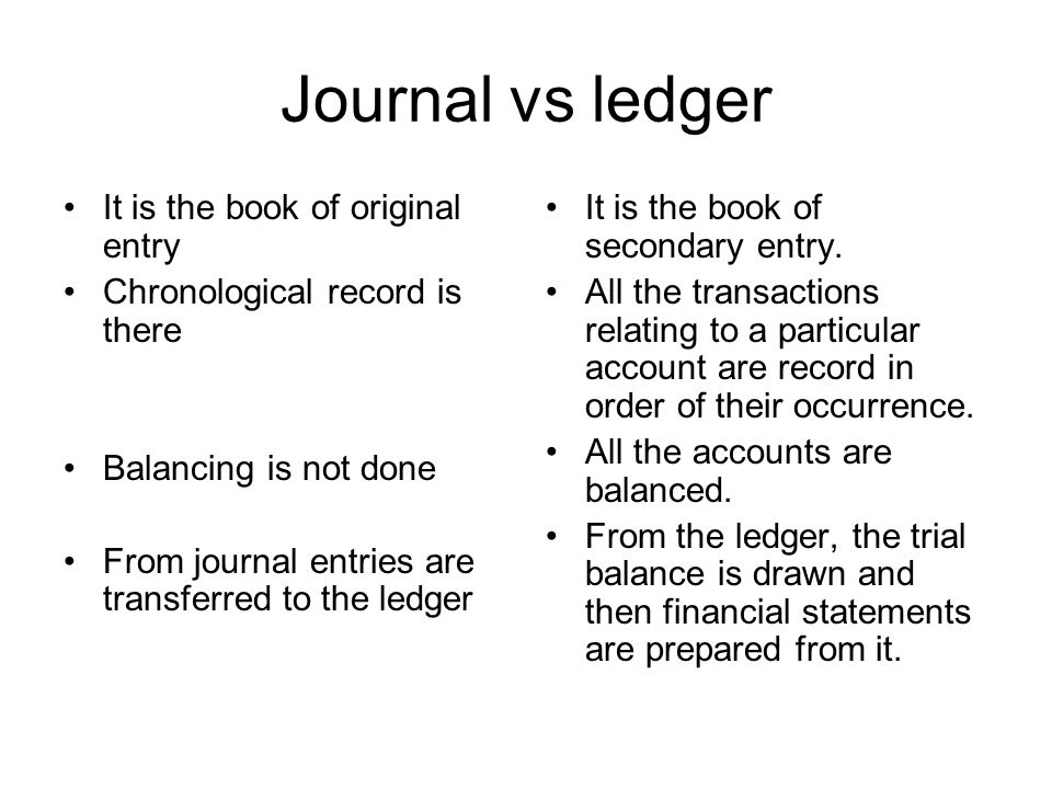 Journal vs ledger It is the book of original entry