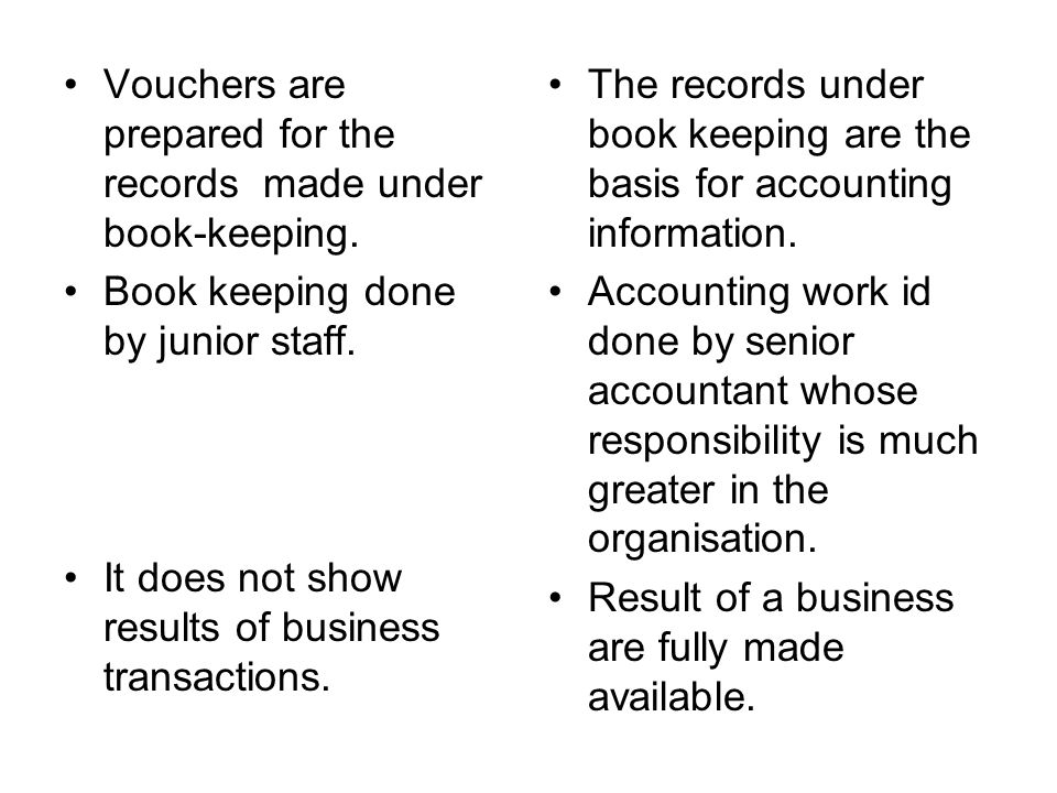 Vouchers are prepared for the records made under book-keeping.