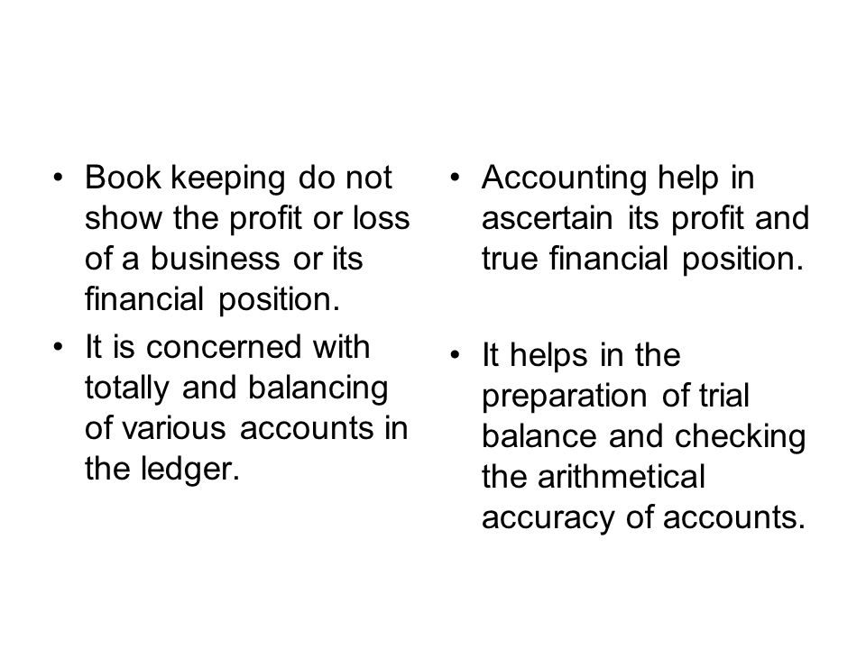 Book keeping do not show the profit or loss of a business or its financial position.