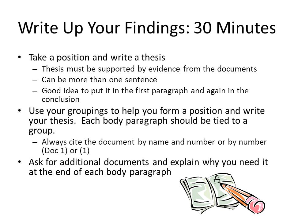 Write Up Your Findings: 30 Minutes