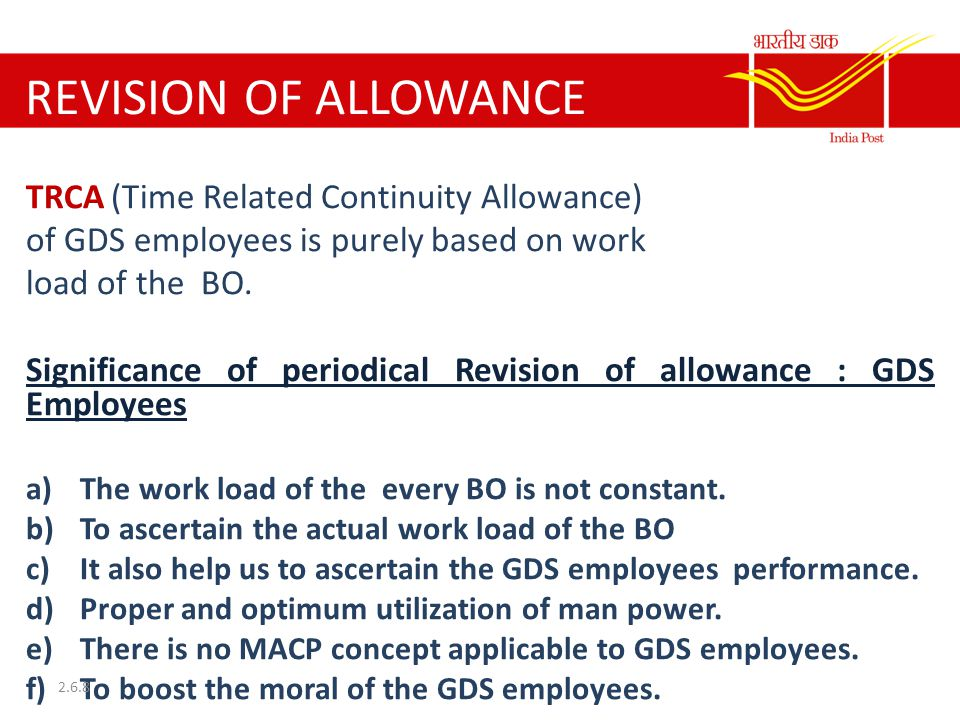 REVISION OF ALLOWANCE TRCA (Time Related Continuity Allowance)