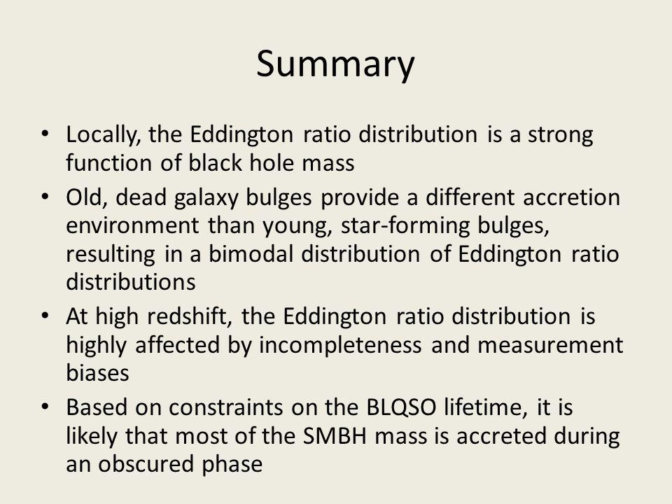 Summary Locally, the Eddington ratio distribution is a strong function of black hole mass.