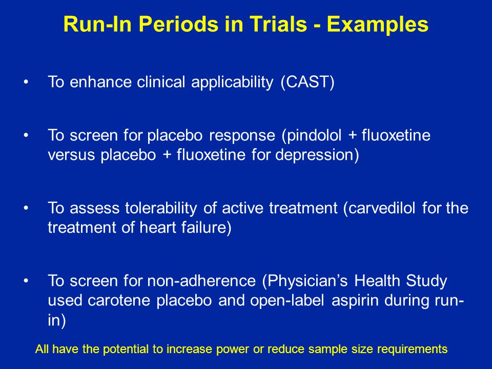 Run-In Periods in Trials - Examples